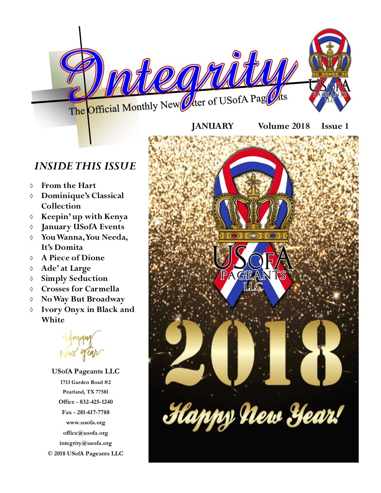 USofA Pageants Integrity Newsletter January 2018