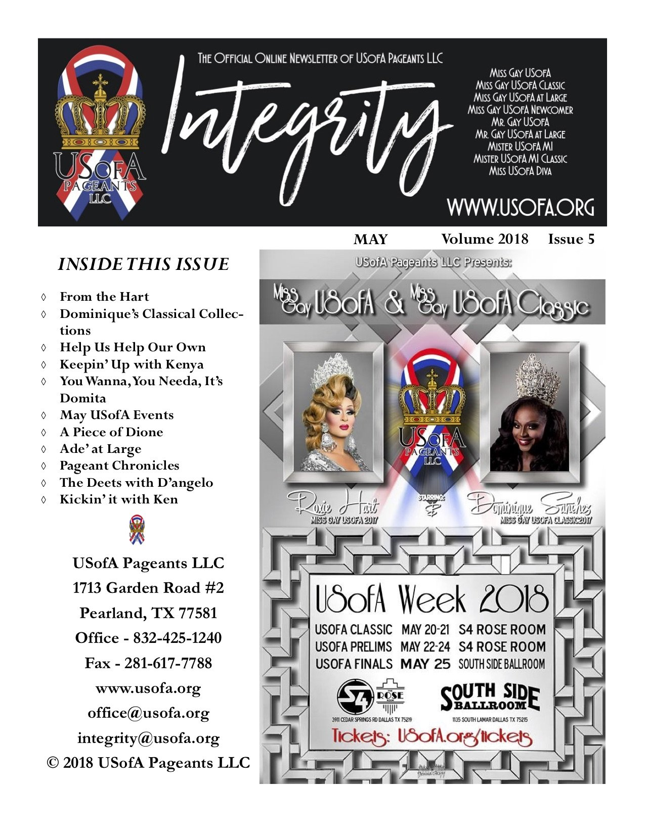 USofA Pageants Integrity Newsletter May 2018